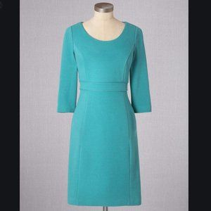 Boden Textured Ponte Cotton Dress in Teal